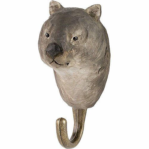 Hand Carved Wooden Wall Hook - Wombat