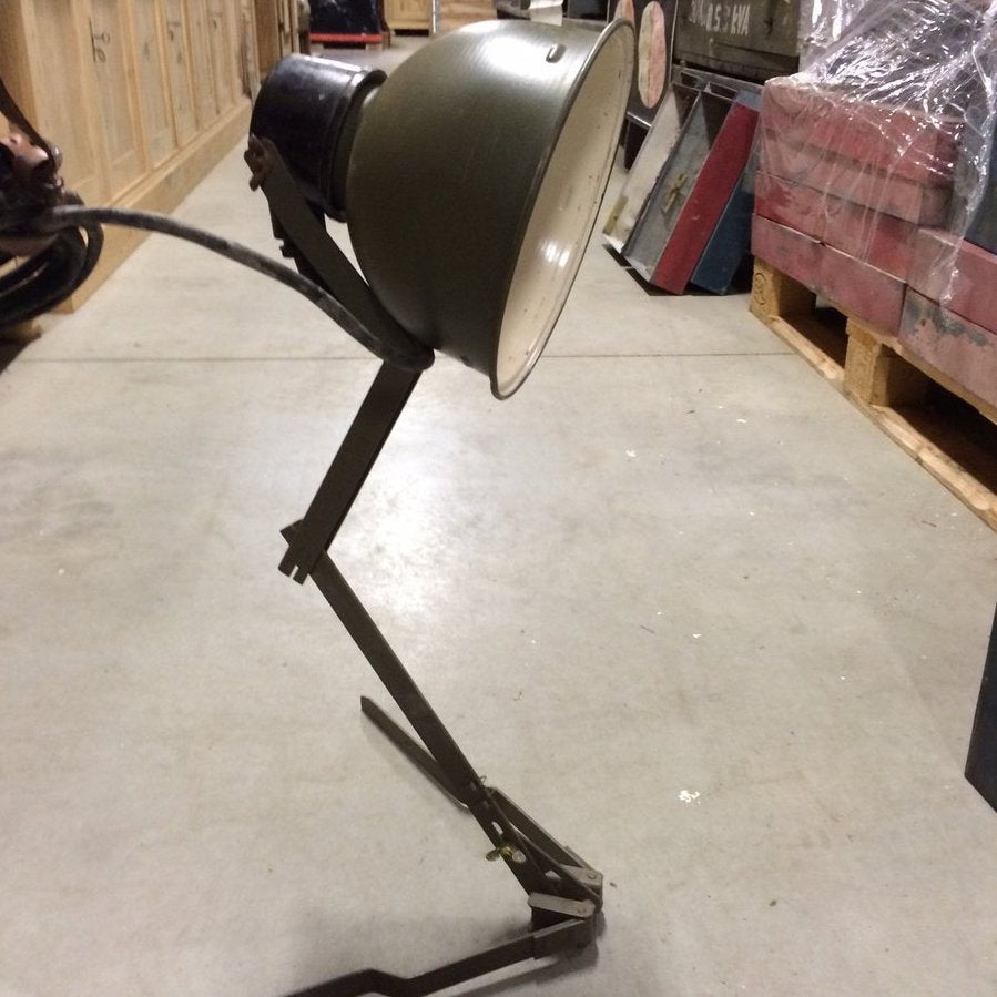 Vintage Folding Army Table Lamp- Green and Cream Enamel