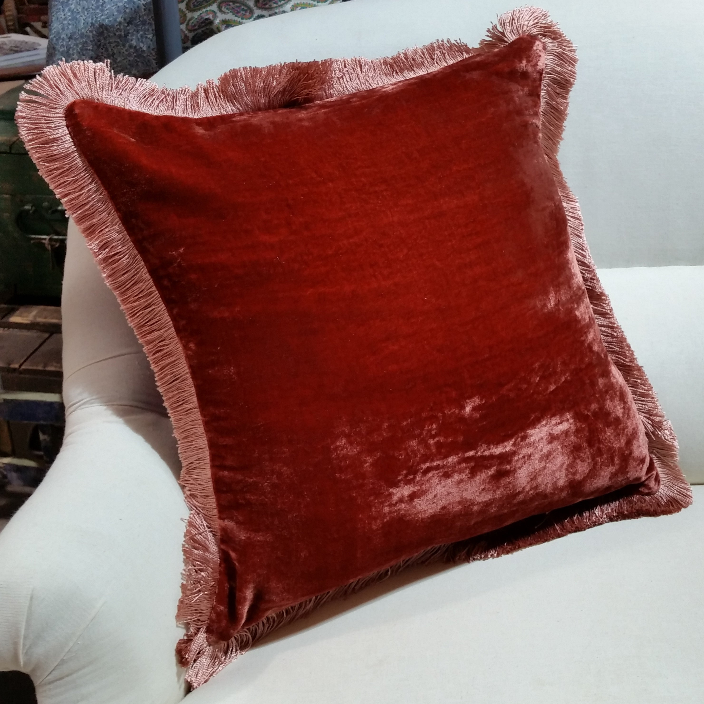 Silk Velvet Fringed Cushion in Toscana with Rose Trim