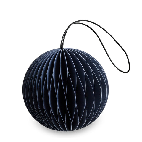 Danish Honeycomb Paper Bauble Ornament - Midnight Blue