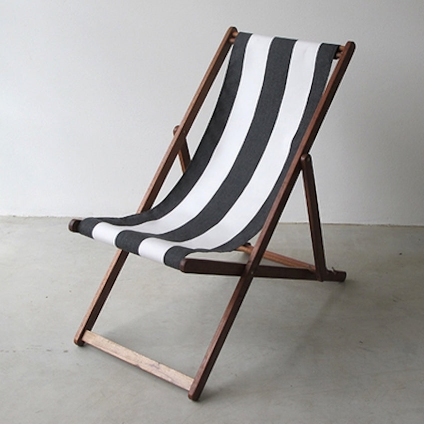 Deck Chair in Charcoal Block Stripe