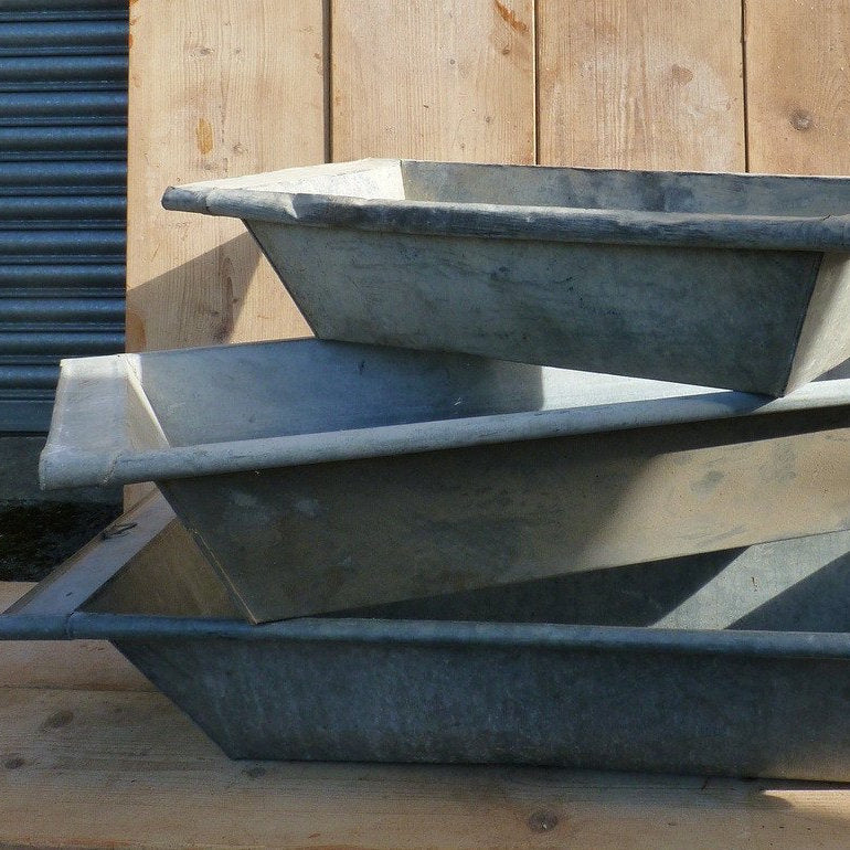Vintage Zinc Steel Dough Bowl