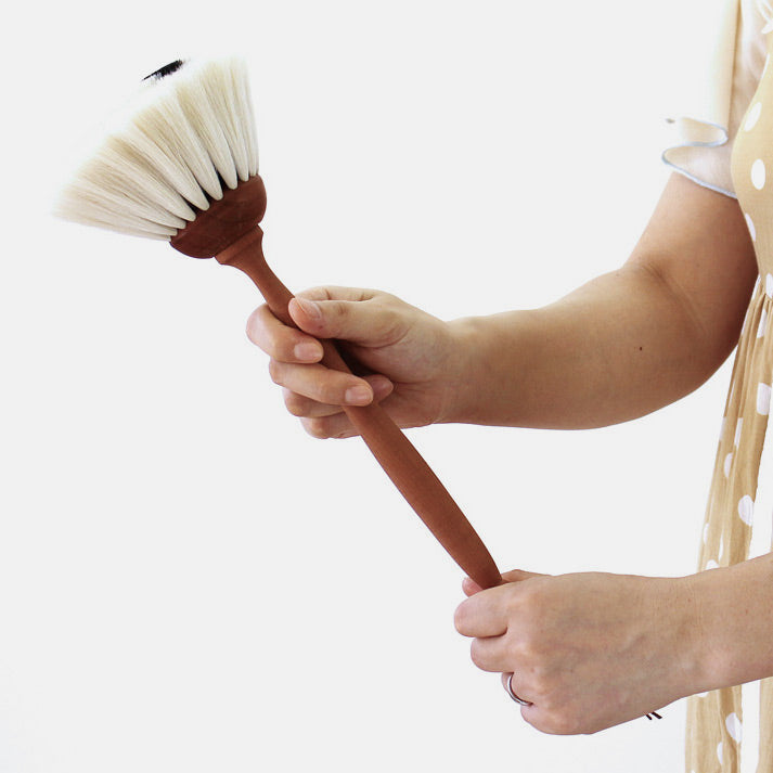 Goat Hair Duster with White Bristles by Redecker