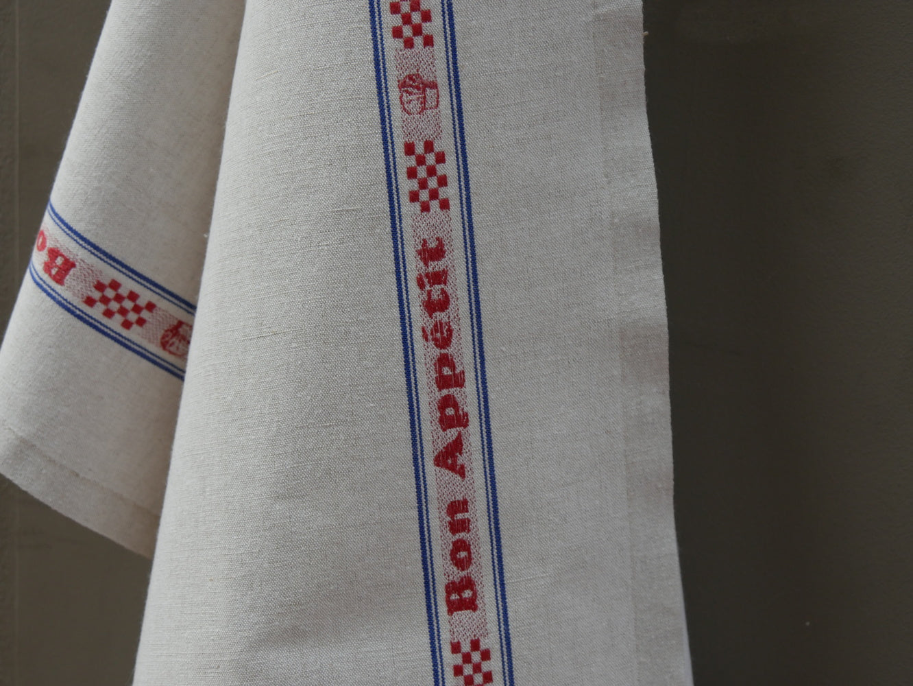 French Linen with Red Bon Appetit on Natural Tea Towel by Charvet Editions