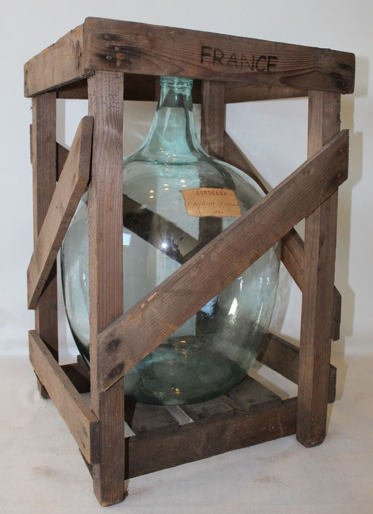Vintage Demijohn Bottle in Original Wooden Crate