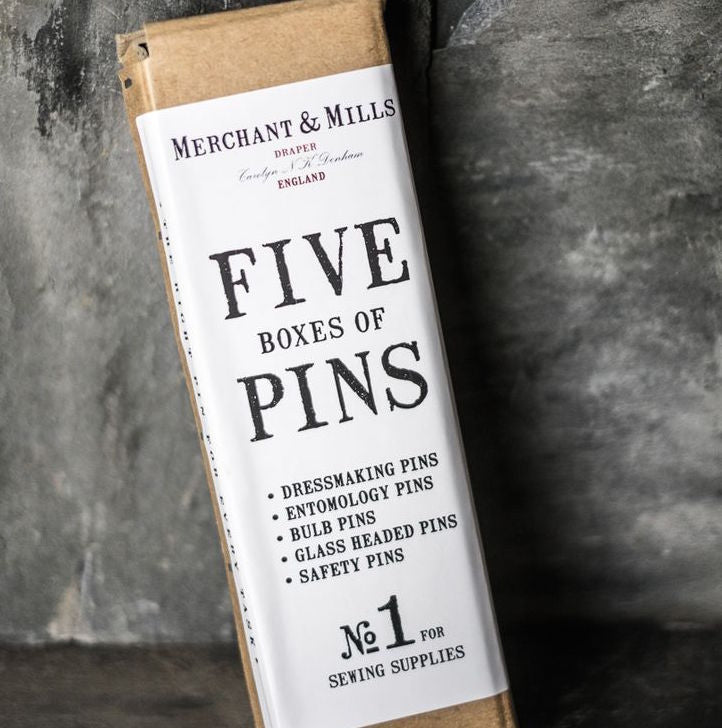Merchant and Mills Set of Five Boxes of Handmade Pins- UK