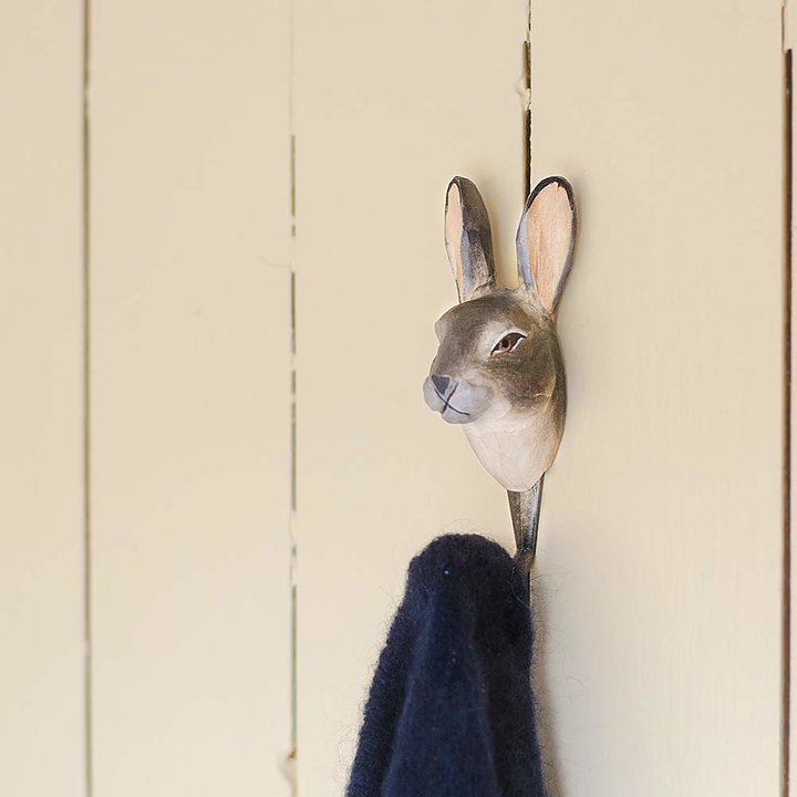 Hand Carved Wooden Wall Hook - Mountain Hare