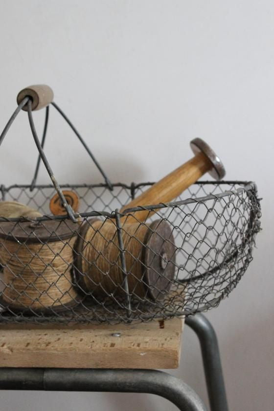 French Galvanised Wire Fruit Vegetable Egg Basket