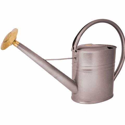 8 Litre Slimcan Metal Watering Can - Silver. Haws UK.