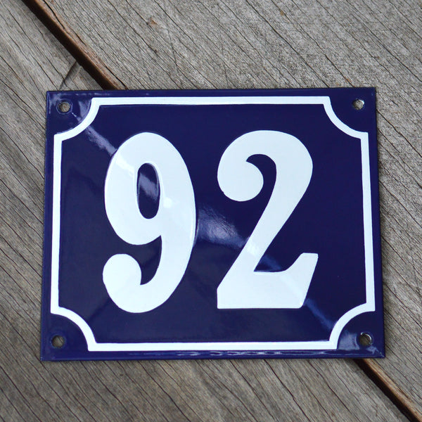 Enamel House Numbers from France in Traditional Deep Cobalt Blue