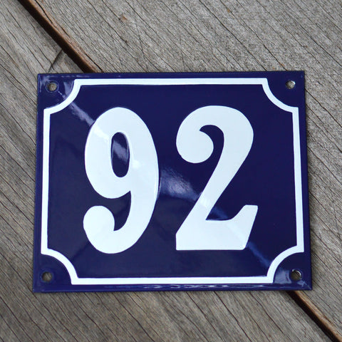Enamel House Numbers from France- Cobalt Blue