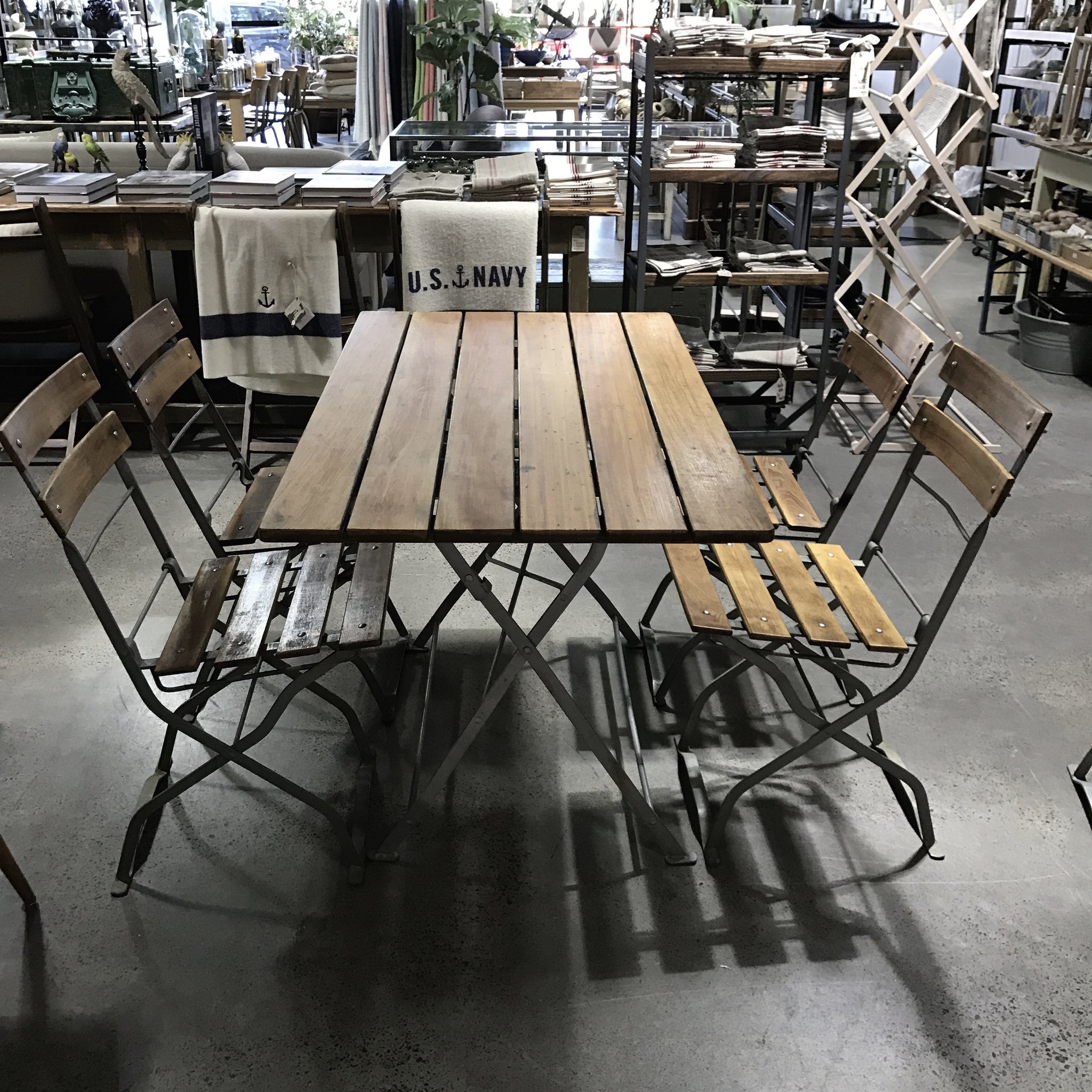 Vintage Dutch Bistro Table Set with Six Chairs