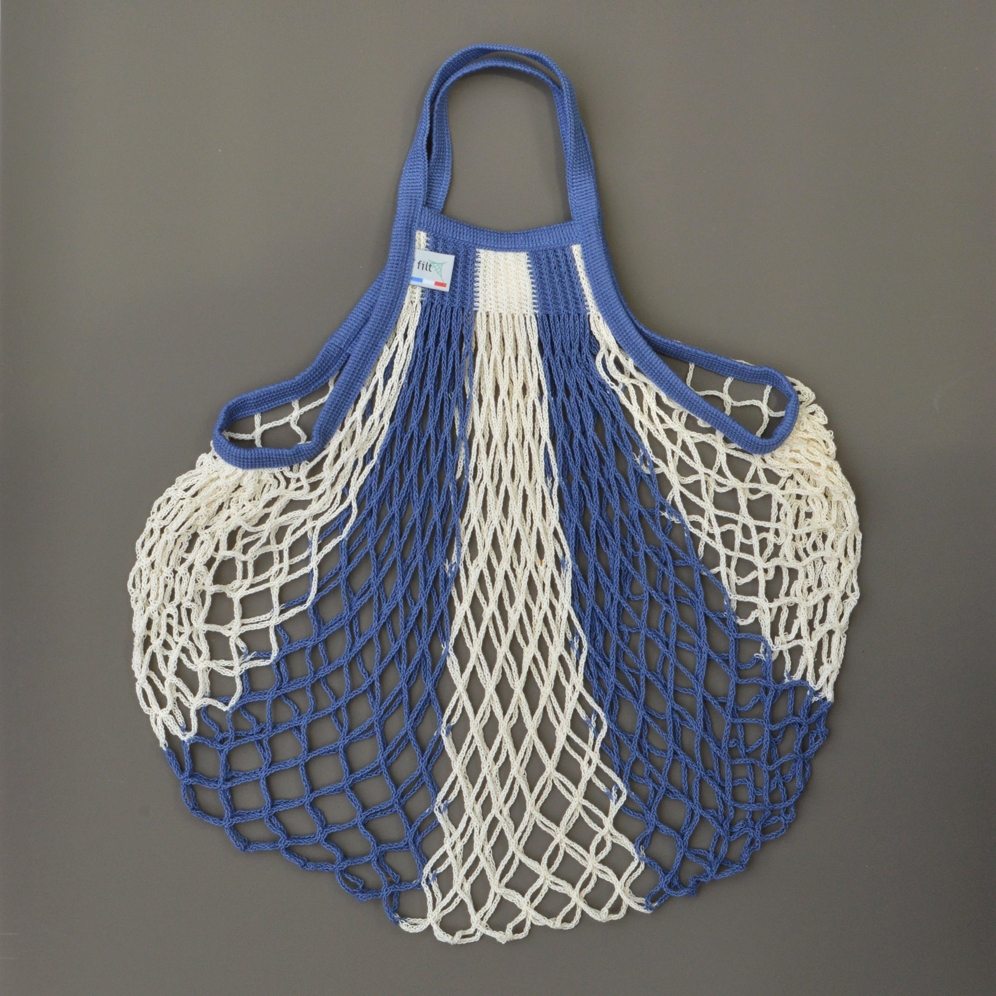 French String Bag - Blue and Ecru