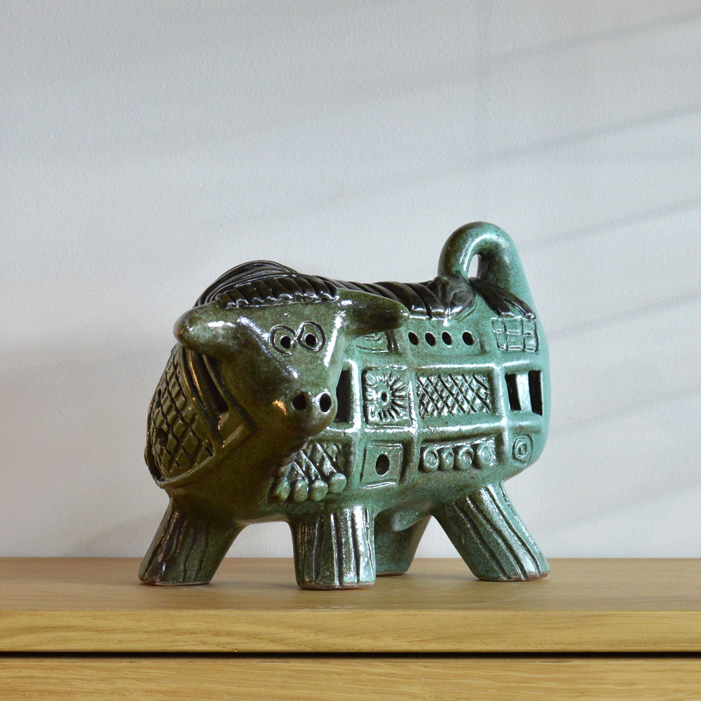 Betty McLaren Ceramic Green Charging Bull
