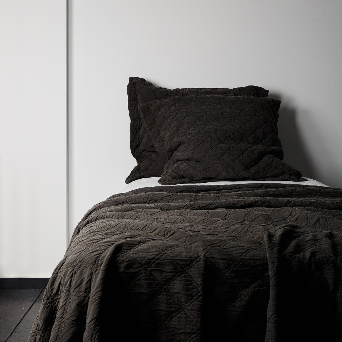 Portier Cotton EUROPEAN PILLOWCASE- Noir