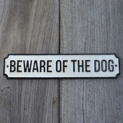 Cast Iron Beware of the Dog sign
