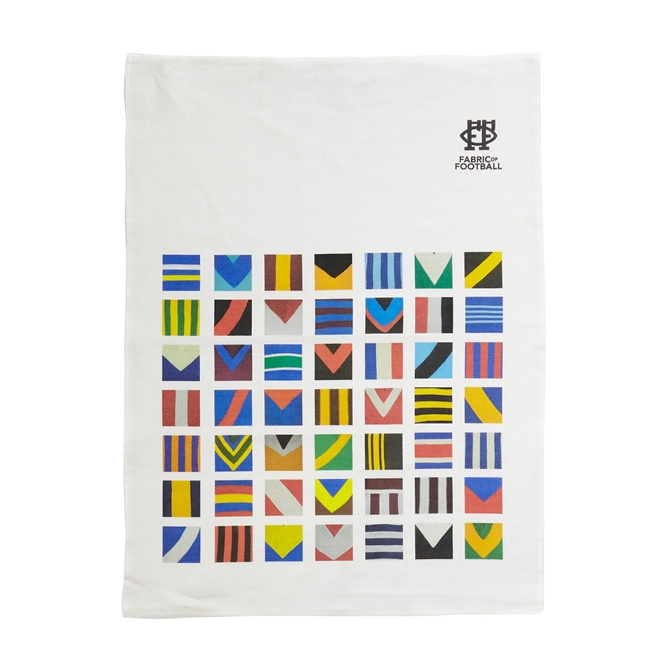 Australian Football Jumper Collage Linen Tea Towel