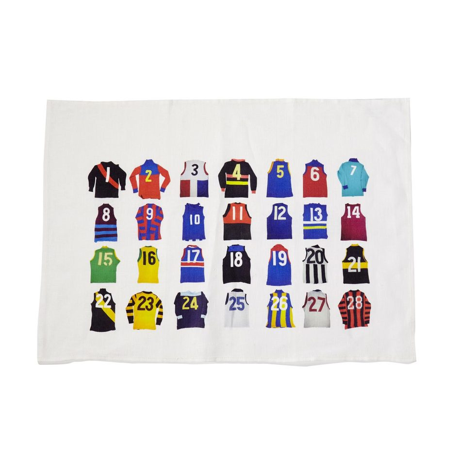 Australian Football Jumper Line Up Linen Tea Towel