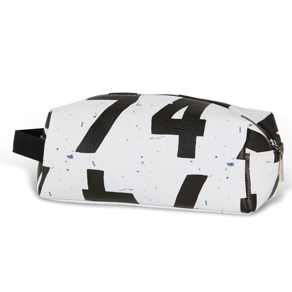 Scoreboard Numbers Toiletry Bag in White