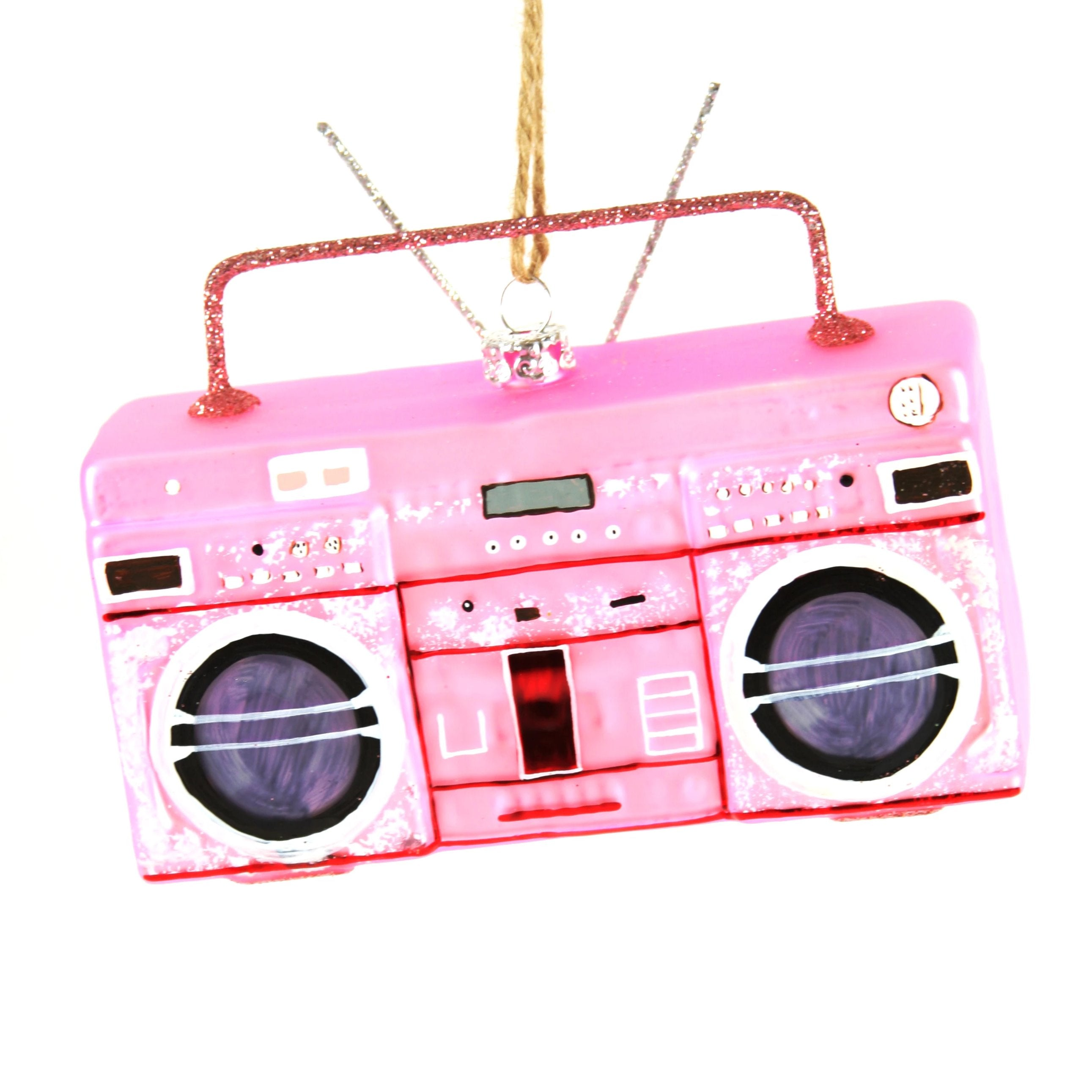 Mercury Glass Pink Boom Box Ornament