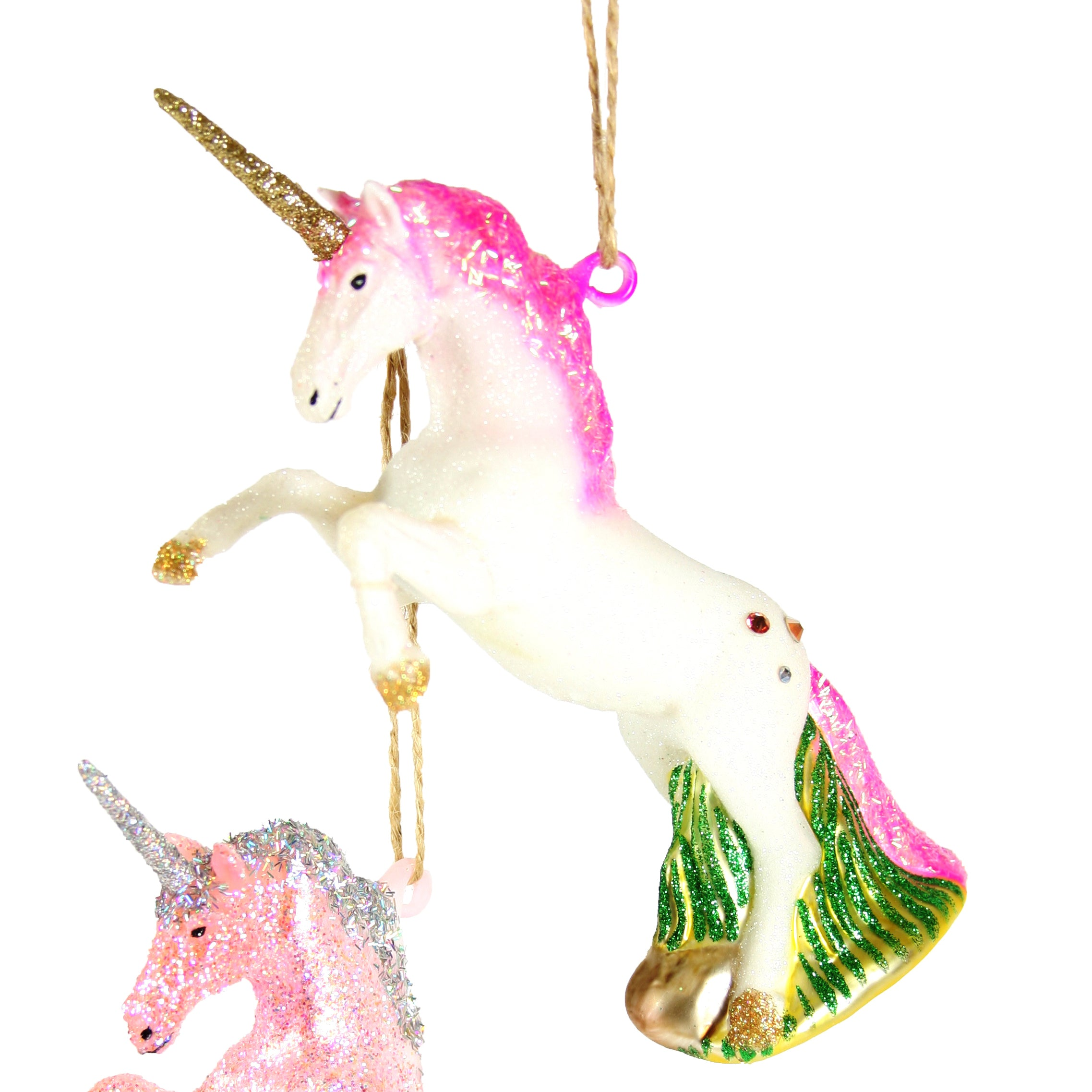 WHITE Mercury Glass Unicorn Ornament