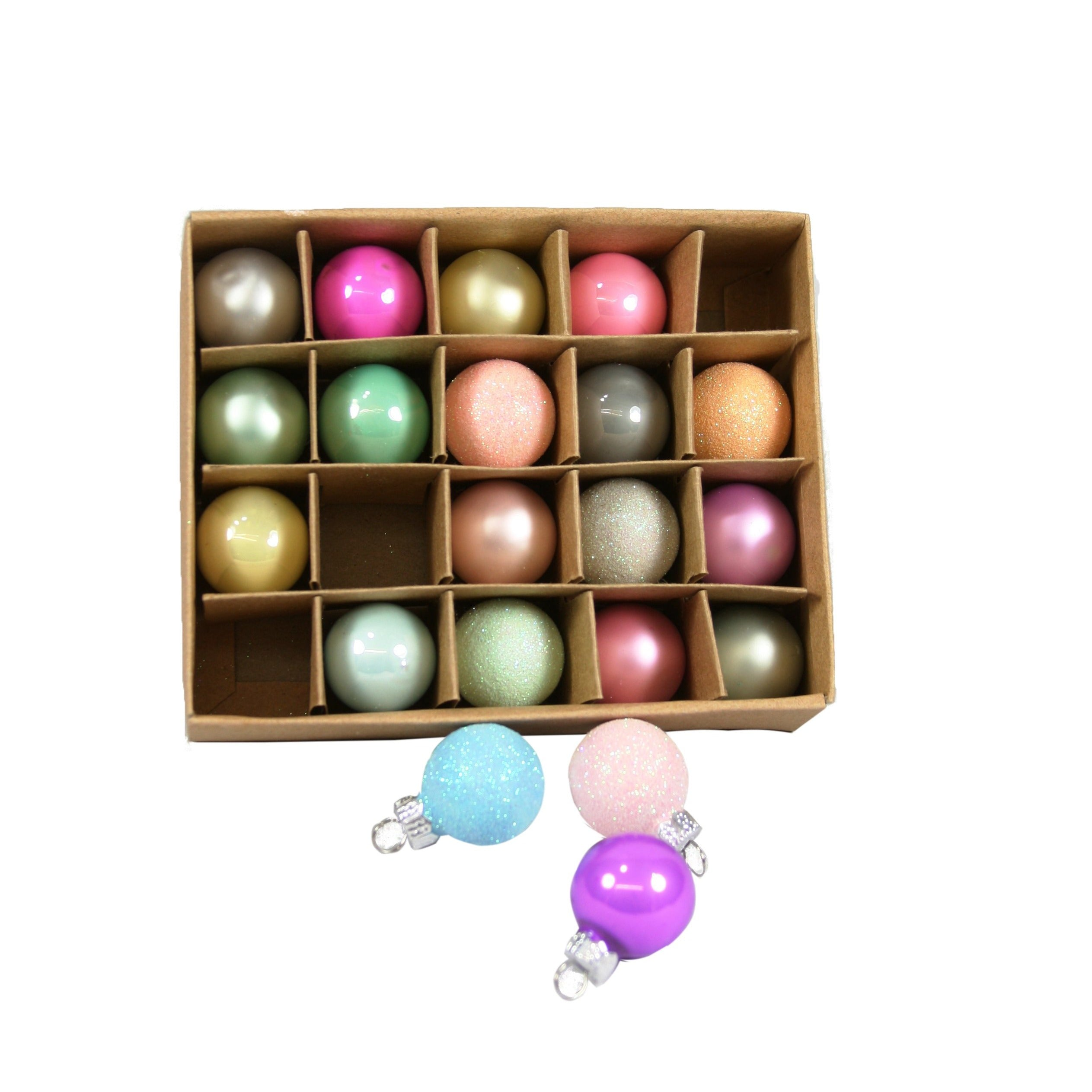 Boxed Set of Mercury Glass Baubles - 20pk
