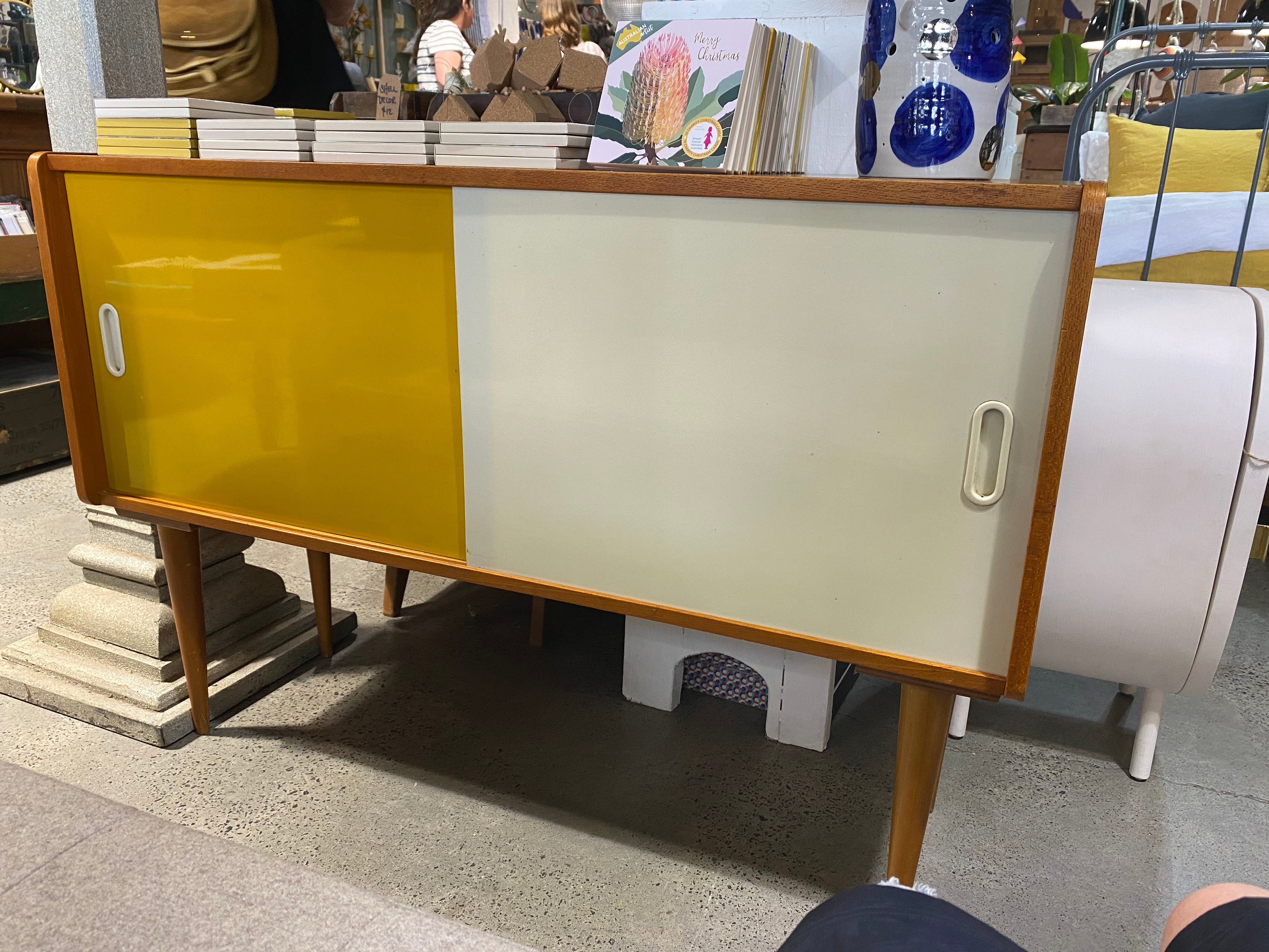 Yellow & White Mid-Century Sideboard