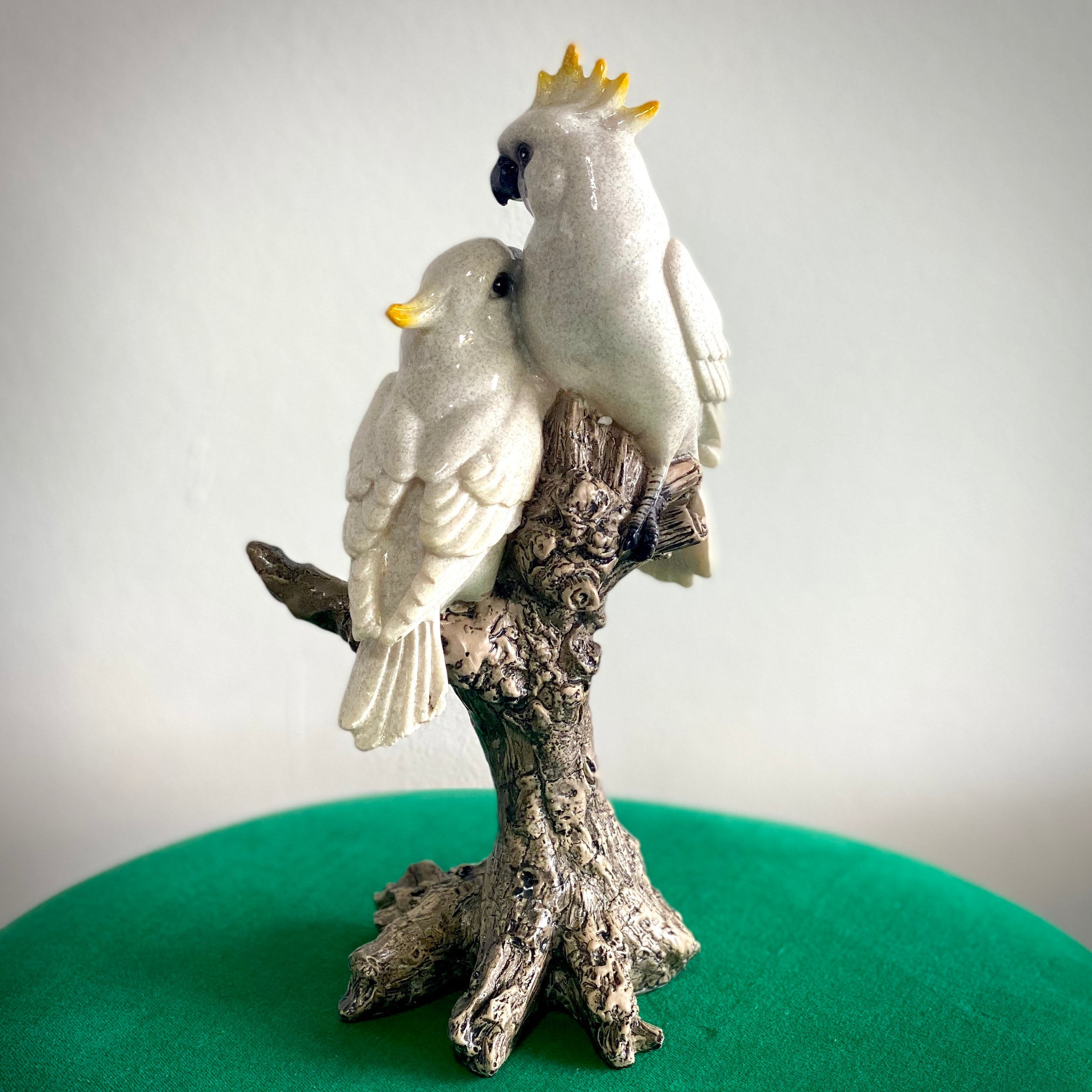 Porcelain Cockatoos on Log