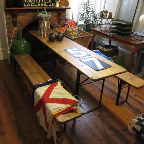 Vintage Belgian Beer Hall Table Set with Two Benches