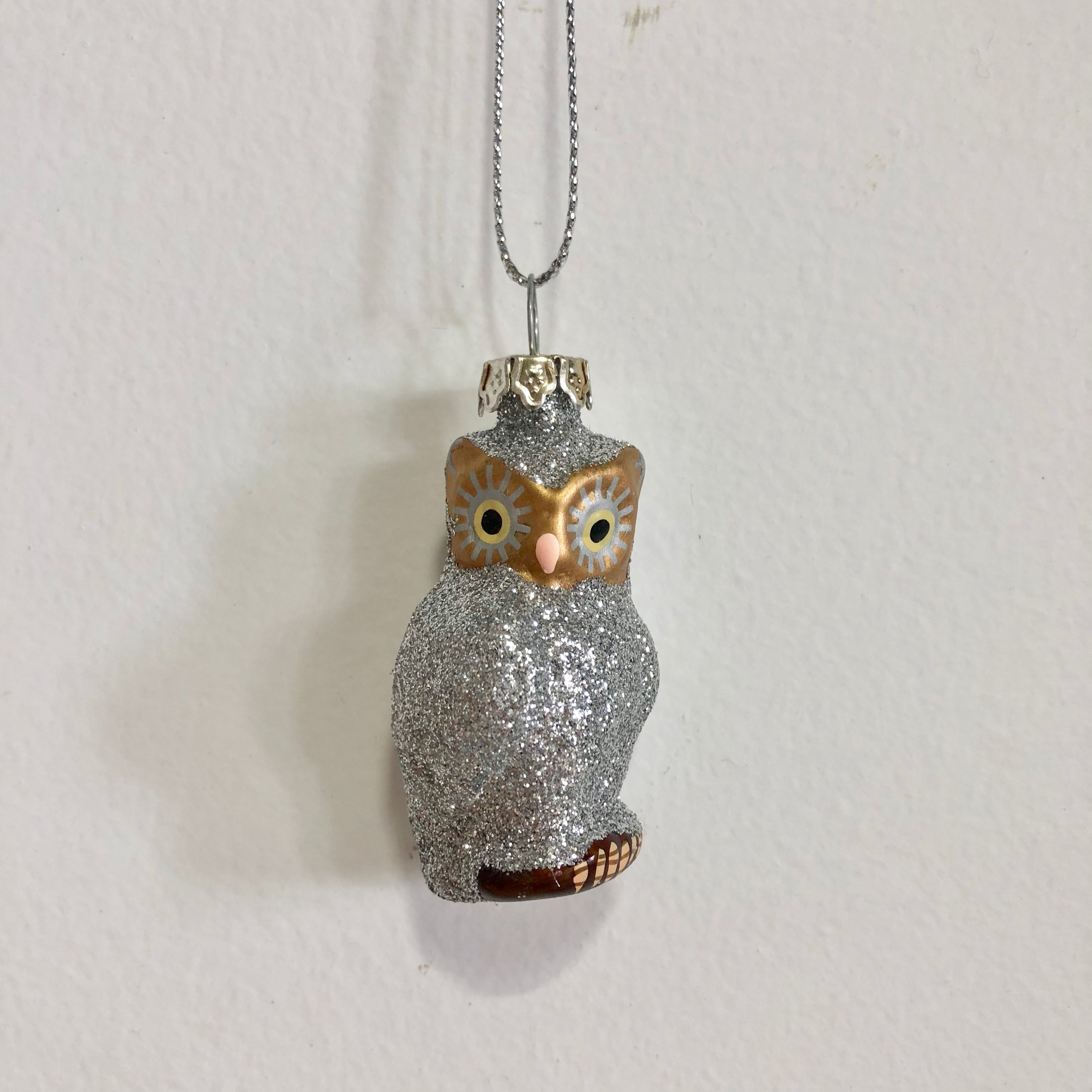 Mercury Glass Silver Glitter Owl Ornament