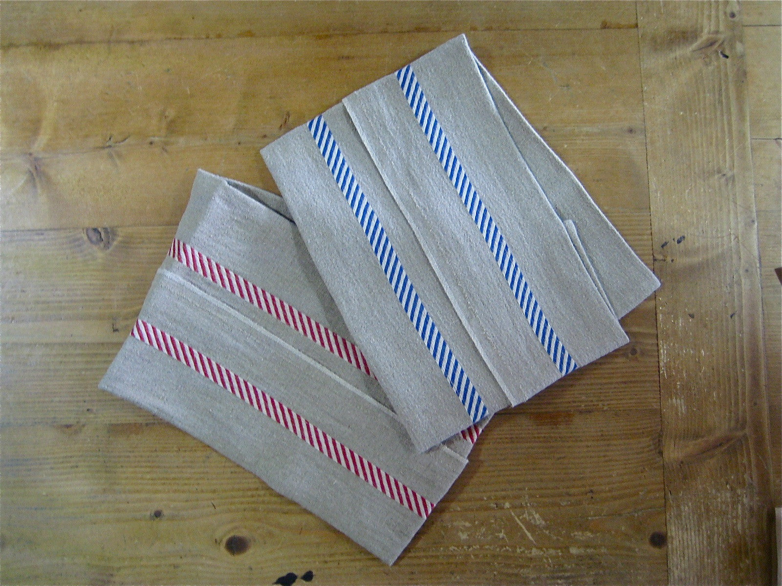 French 100% Linen Natural with Diagonal Stripes Tea Towel by Charvet Editions