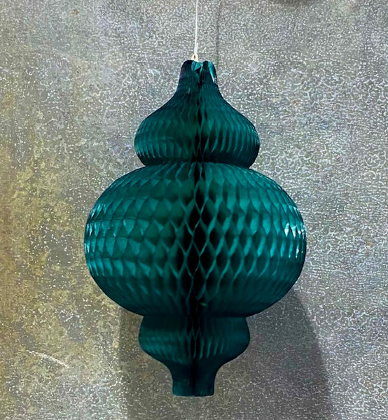 European Honeycomb Hanging Paper Decorations: EMERALD BAUBLE SML