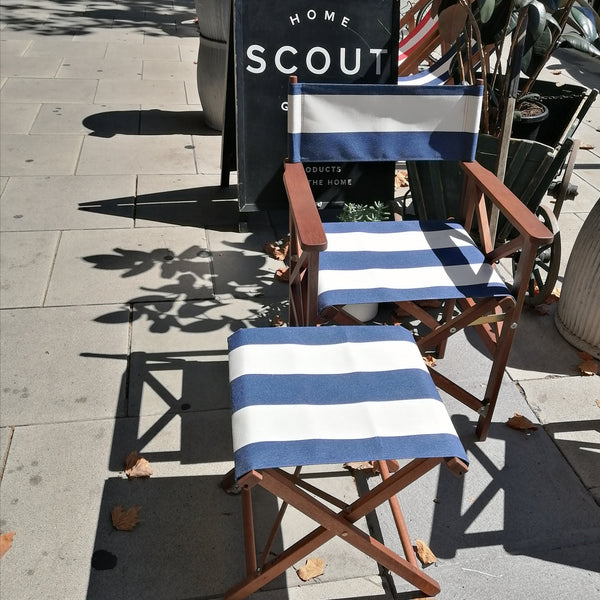 Classic Directors Chair in Les Toiles du Soleil -NAVY AND WHITE BROAD STRIPE