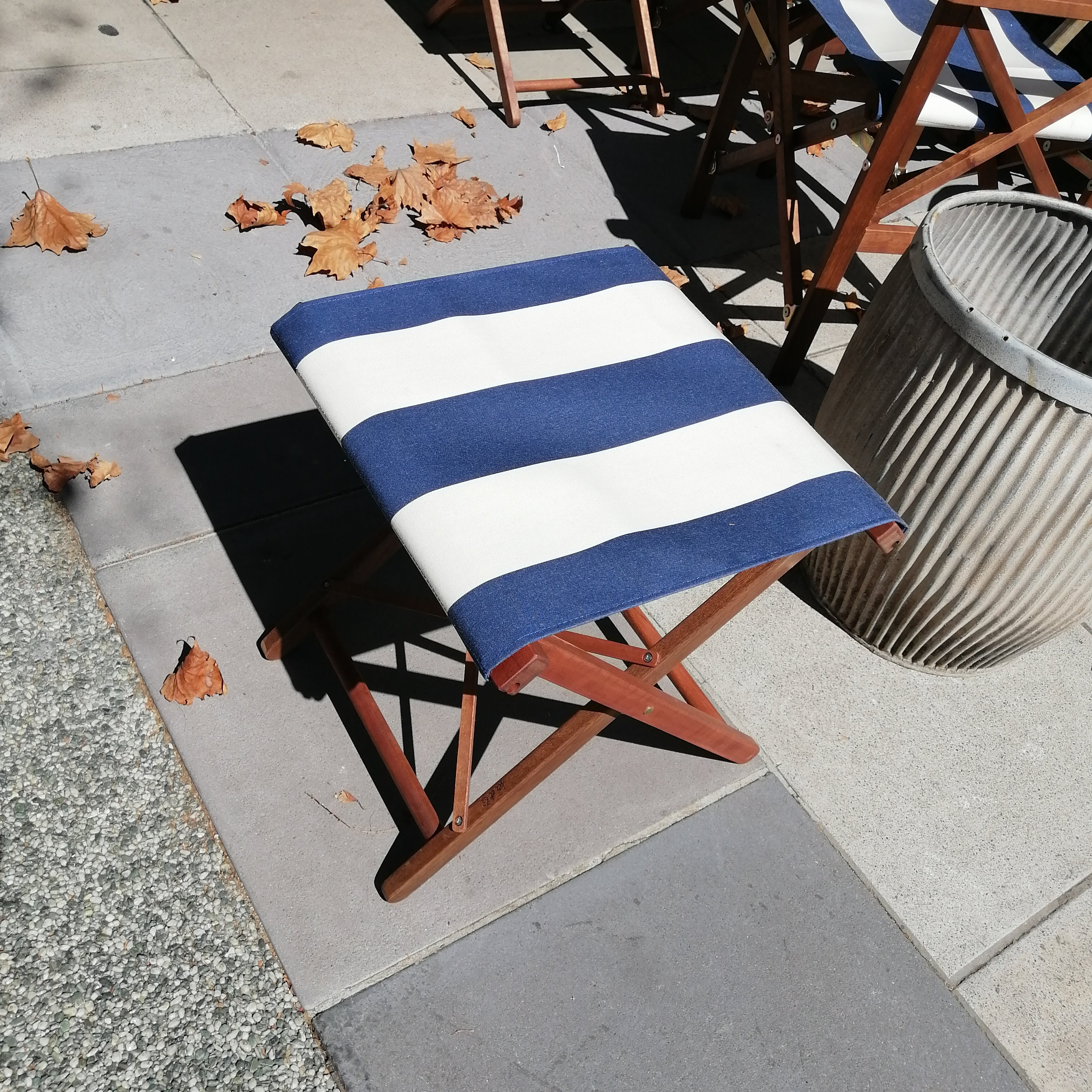 Classic Directors Chair and Footstool SET in Les Toiles du Soleil - NAVY AND WHITE BROAD STRIPE