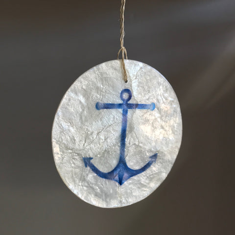 Hanging Round Natural Shell Ornament - Anchor