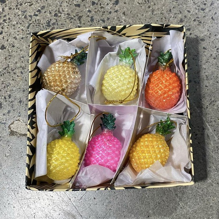 Boxed Set of Mercury Glass Pineapples - BOX OF 6