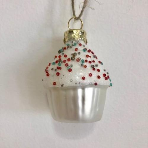 Mercury Glass Sprinkle Cupcake Ornament