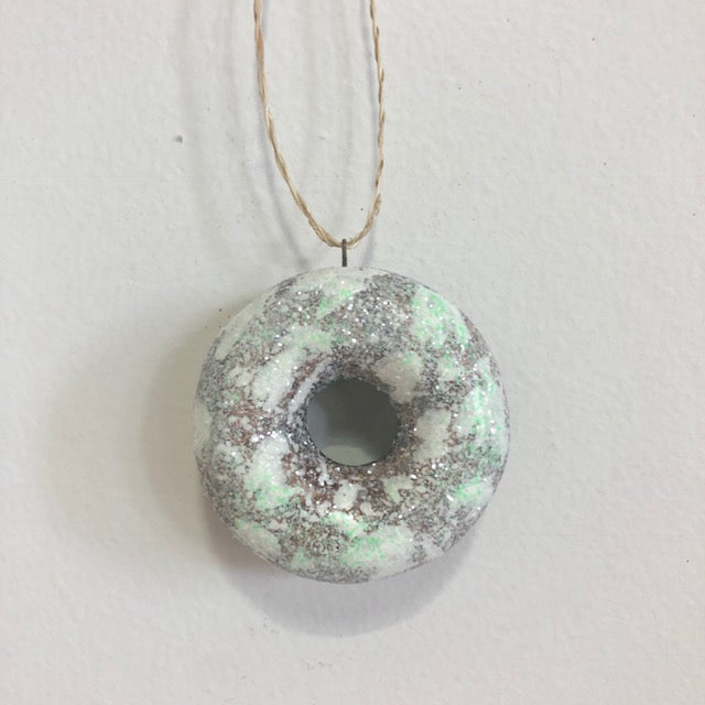 Green Glitter Frosted Doughnut Ornament