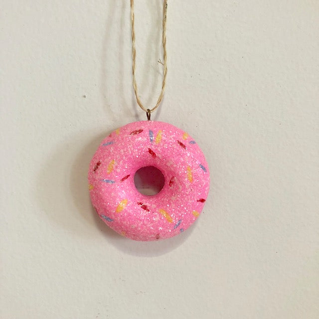 Pink Glitter Frosted Doughnut Ornament