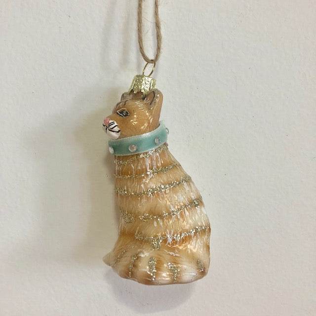 Mercury Glass Ginger Kitten Ornament