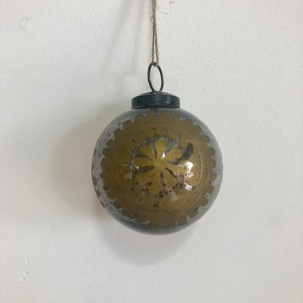 Hanging Painted Mercury Glass Bauble