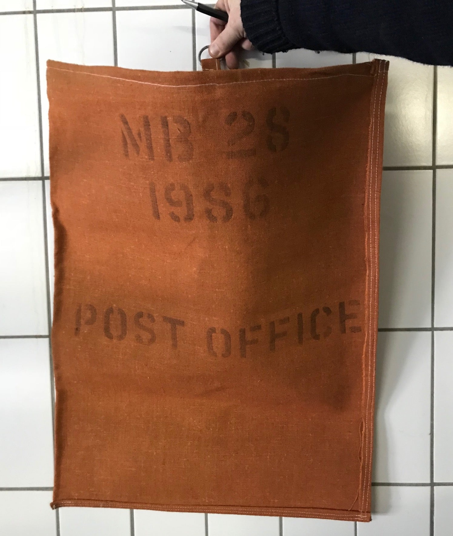 Vintage Linen Mail Bag from Belgium