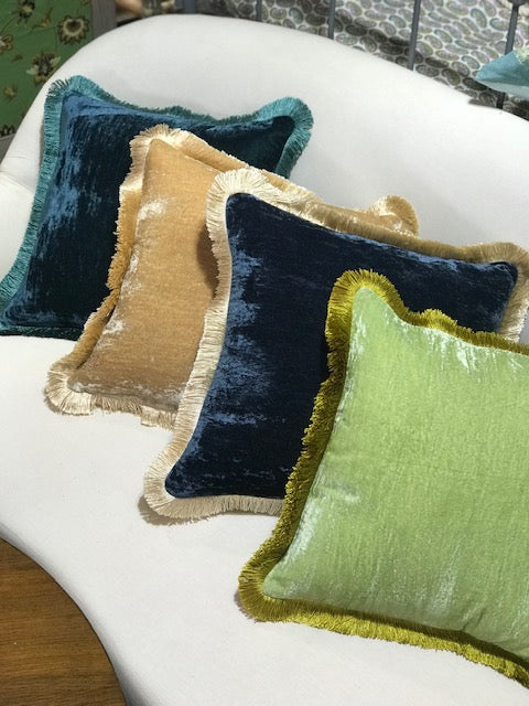 Silk Velvet Fringed Cushion in Apple Green with a Golden Trim- 40cm square