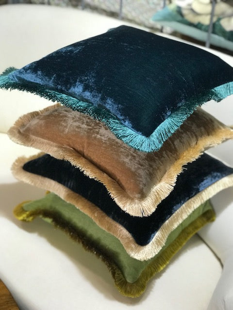 Silk Velvet Fringed Cushion in Peacock Blue with Teal Trim