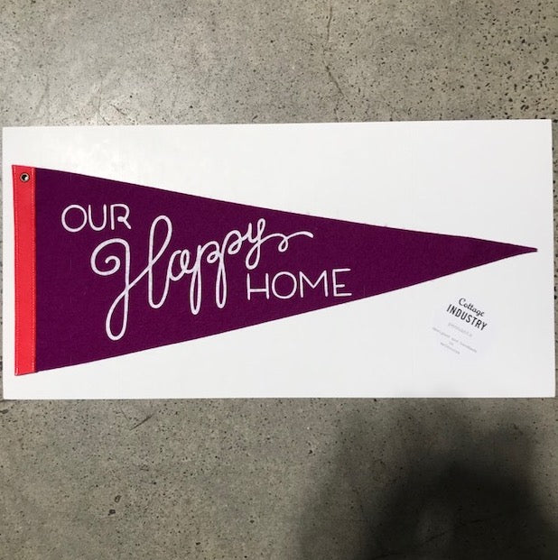 Our Happy Home Pennant - Purple and Red