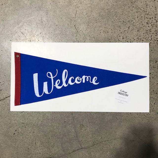 Welcome Pennant - Blue and Red