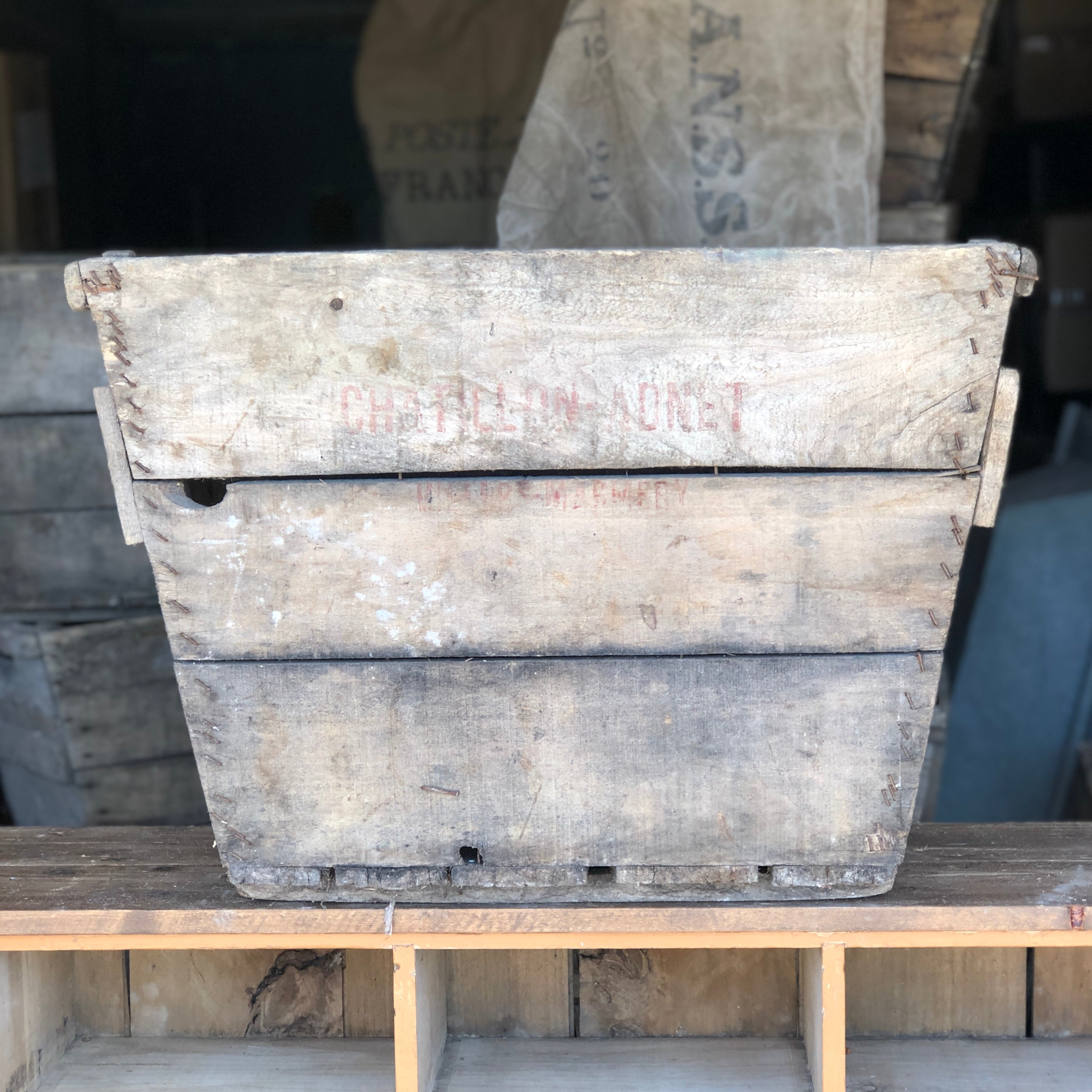 ANTIQUE VINTAGE WOODEN CHAMPAGNE CRATE # 8
