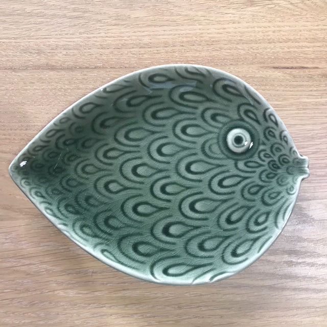 Ceramic Fish Plate in Green