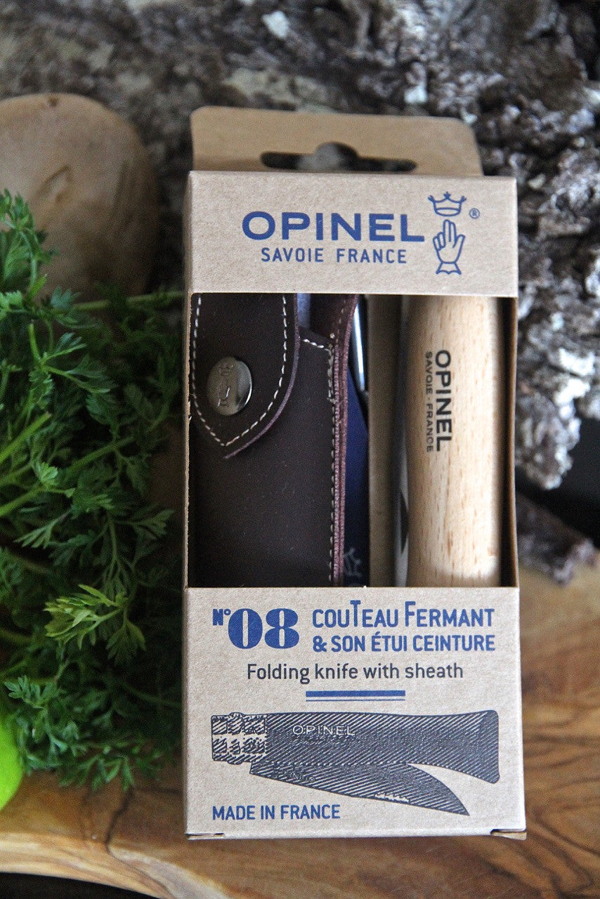 Opinel No. 8 folding knife and sheath