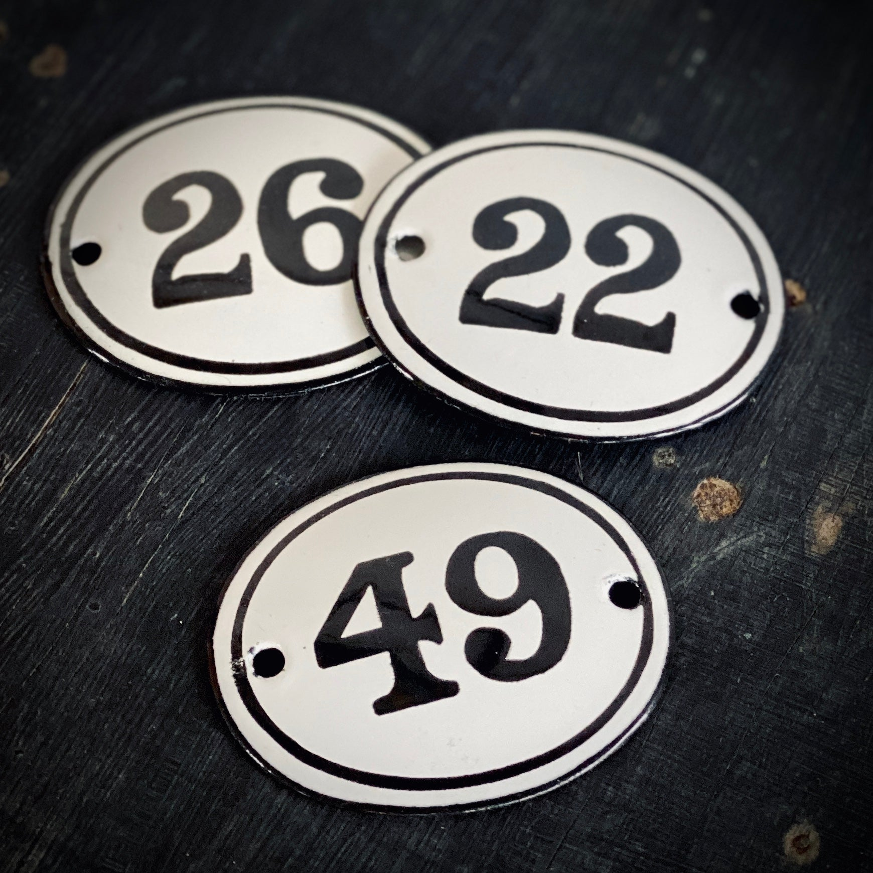 Enamel House Numbers Made in Melbourne in Black and White